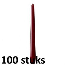 100 stuks wijnrood dinerkaarsen