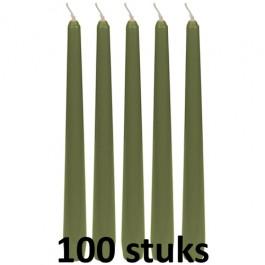 100 stuks sage groen dinerkaarsen 245/23 als voordeel verpakking