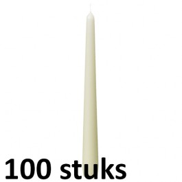 100 stuks dinerkaarsen van 24,5 cm lengte in de kleur ivoor