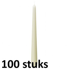 100 stuks ivoor dinerkaarsen