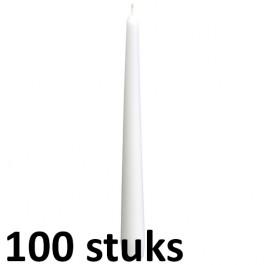 100 stuks dinerkaarsen van 24,5 cm lengte in de kleur wit