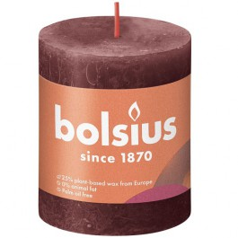 Bolsius wijnrood rustiek stompkaars 80/68 (35 uur) Eco Shine Velvet Red