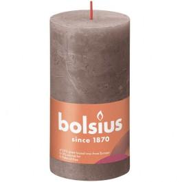 Bolsius taupe rustiek stompkaarsen 130/68 (60 uur) Eco Shine Rustic Taupe