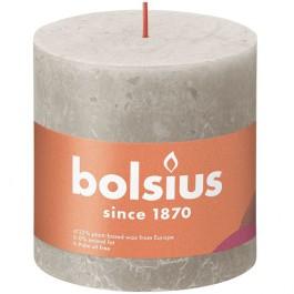 Bolsius lichtgrijs rustiek stompkaars 100/100 (62 uur) Eco Shine Sandy Grey