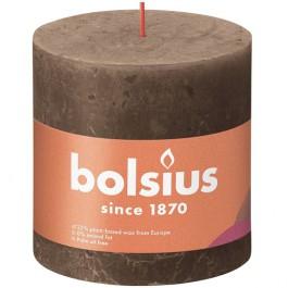 Bolsius suede bruin rustiek stompkaars 100/100 (62 uur) Eco Shine Suede Brown