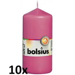 10 stuks fuchsia stompkaarsen 120/60 van Bolsius extra goedkoop in een voordeel verpakking