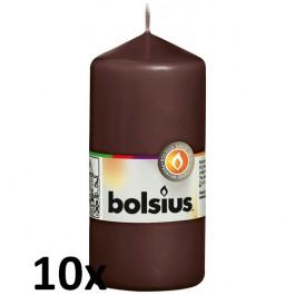 10 stuks bruin stompkaarsen 120/60 van Bolsius extra goedkoop in een voordeel verpakking