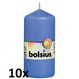 10 stuks blauw stompkaarsen 120/60 van Bolsius extra goedkoop in een voordeel verpakking