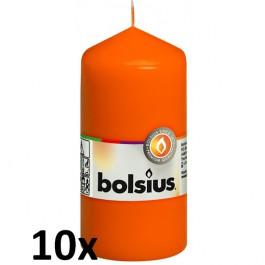 10 stuks oranje stompkaarsen 120/60 van Bolsius extra goedkoop in een voordeel verpakking