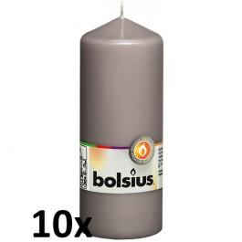 10 stuks grijs stompkaarsen 150/60 van Bolsius extra goedkoop in een voordeel verpakking
