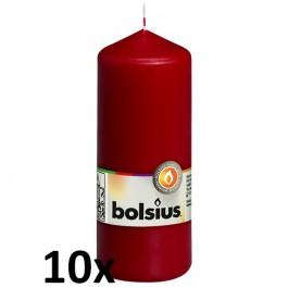 10 stuks wijnrood stompkaarsen 150/60 van Bolsius extra goedkoop in een voordeel verpakking