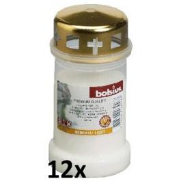 12 stuks witte Bolsius graflichten nr. 3 met deksel in een voordeel verpakking
