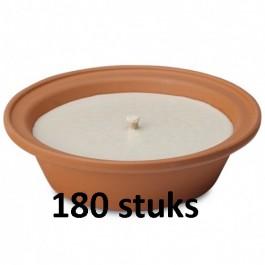 180 stuks Terracotta vlamschaal tuinkaars ivoor - wit 16 branduren 65/230