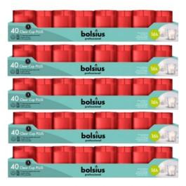 200 stuks Bolsius Clear Cups kaars in rode houder 55/42