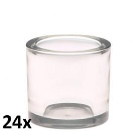 24 stuks robuust dik glas theelichthouders als voordeelverpakking
