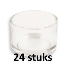 24 stuks theelichthouders van glas