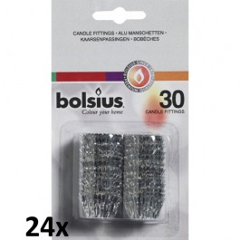 24 verpakkingen met Bolsius dinerkaarsen kroon passingen (720 losse kaarspassingen)