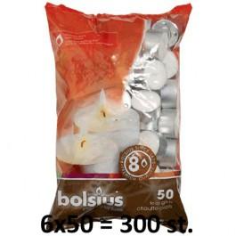 300 stuks witte 8 uur waxinelichtjes 24/38 Bolsius ( 6 zakken met 50 stuks )
