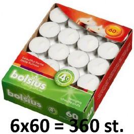 360 stuks witte 4 uur waxinelichtjes 18/38 Bolsius ( 6 dozen met 60 stuks )