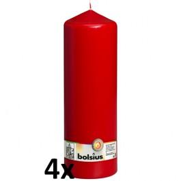 4 stuks rood stompkaarsen 300/100 van Bolsius extra goedkoop in een voordeel verpakking