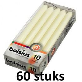 60 stuks Bolsius ivoor dinerkaarsen 230/20