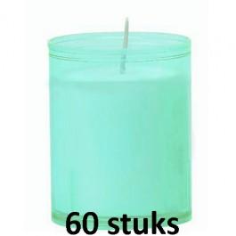 Refill kaarsen aqua blauw 60 stuks