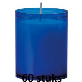 Refill kaarsen blauw 60 stuks