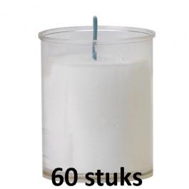 Refill kaarsen transparant 60 stuks