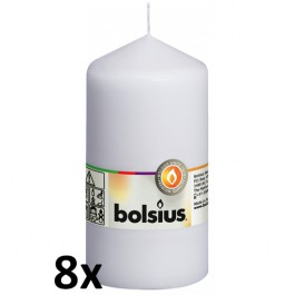8 stuks wit stompkaarsen 130/70 van Bolsius extra goedkoop in een voordeel verpakking