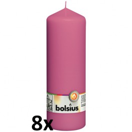 8 stuks fuchsia stompkaarsen 200/70 van Bolsius extra goedkoop in een voordeel verpakking
