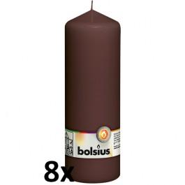 8 stuks bruin stompkaarsen 200/70 van Bolsius extra goedkoop in een voordeel verpakking