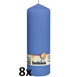 8 stuks blauw stompkaarsen 200/70 van Bolsius extra goedkoop in een voordeel verpakking