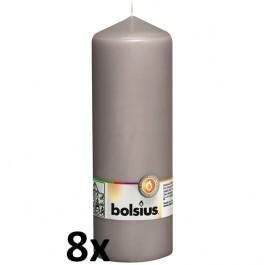 8 stuks grijs stompkaarsen 200/70 van Bolsius extra goedkoop in een voordeel verpakking