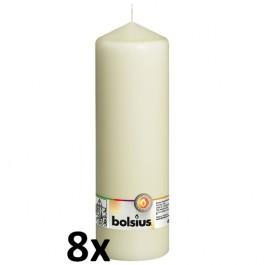 8 stuks ivoor stompkaarsen 250/80 van Bolsius extra goedkoop in een voordeel verpakking