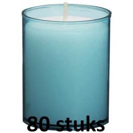80 stuks Bolsius relight kaars in aqua blauw kunststof kaarsenhouder