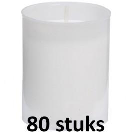 80 stuks Bolsius relight kaars in wit kunststof kaarsenhouder