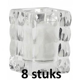 8 glazen Bolsius cube light houders inclusief relightkaars