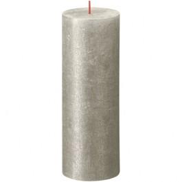 Bolsius metalliek zilver gelakte rustieke stompkaarsen 190/68 (85 uur) Shimmer Metallic Champagne