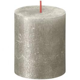 Bolsius metalliek zilver gelakte rustieke stompkaarsen 80/68 (35 uur) Shimmer Metallic Champagne