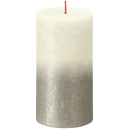 Bolsius rustiek stompkaarsen ivoor met vervaagd gelakt metalliek zilver 130/68 (60 uur) Sunset Fading Soft Pearl - Champagne