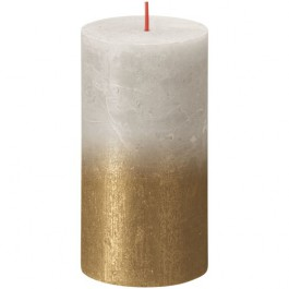 Bolsius rustiek stompkaarsen licht grijs met vervaagd gelakt metalliek goud 130/68 (35 uur) Sunset Fading Sandy Grey - Gold