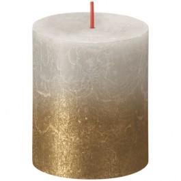 Bolsius rustiek stompkaarsen licht grijs met vervaagd gelakt metalliek goud 80/68 (35 uur) Sunset Fading Sandy Grey - Gold
