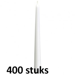 Horeca gotische dinerkaarsen wit 250/23 400 stuks