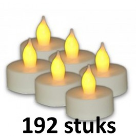 192 stuks Witte led theelichtjes en led kaarsjes