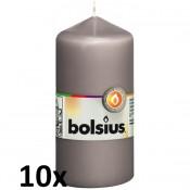 10 stuks grijs stompkaarsen 120/60 van Bolsius extra goedkoop in een voordeel verpakking