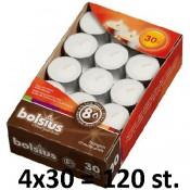 120 stuks witte 8 uur waxinelichtjes 24/38 Bolsius ( 4 dozen met 30 stuks )