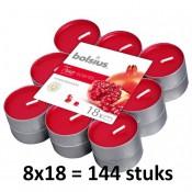 144 stuks Bolsius pomegranate geurtheelichtjes
