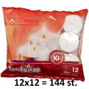 144 stuks witte 10 uur maxi waxinelichten 24/58 Bolsius ( 12 zakken met 12 stuks )