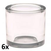 6 stuks robuust dik glas maxi theelichthouders als voordeelverpakking