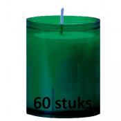 Refill kaarsen donkergroen 60 stuks